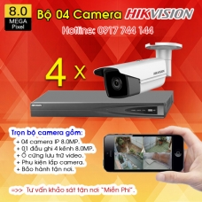 TRỌN BỘ 04 CAMERA IP HIKVISION 8.0MP