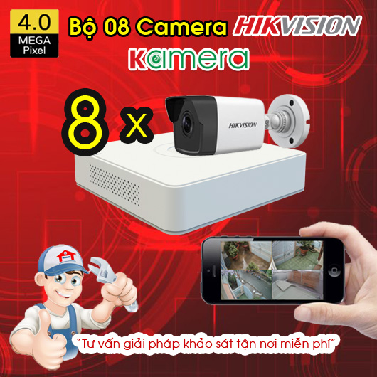 TRỌN BỘ 8 CAMERA IP HIKVISION 4MP