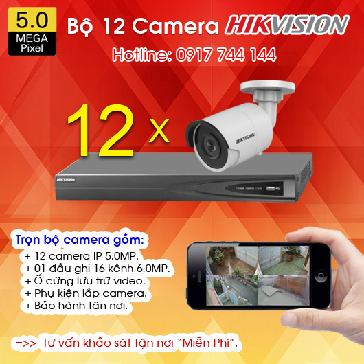 TRỌN BỘ 12 CAMERA IP HIKVISION 5.0MP