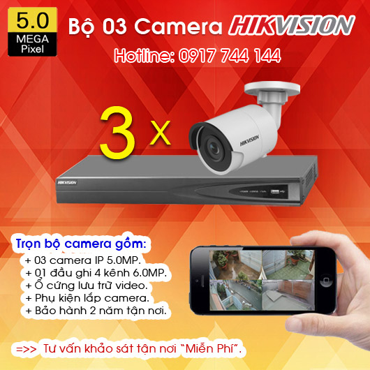 TRỌN BỘ 03 CAMERA IP HIKVISION 5.0MP